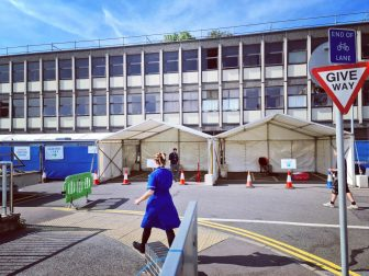marquee in a car park to be used for covid testing
